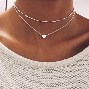 Boho Double Layered Silver Heart Necklace NEW!